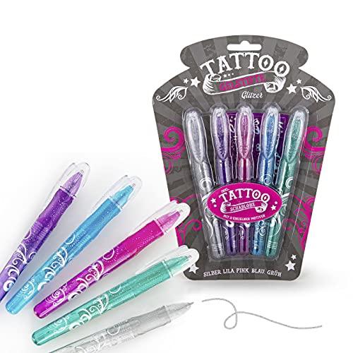 Juego de bolígrafos de gel para tatuajes, 5 colores brillantes, incluye plantilla, tatuajes infantiles, regalo para cumpleaños infantiles