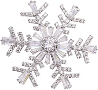 CZ Snowflake Brooches for Women Girls Men Fashion Dainty Rhinestone Crystal Silvery Brooch Lapel Pin Dress Suit Asscessori...