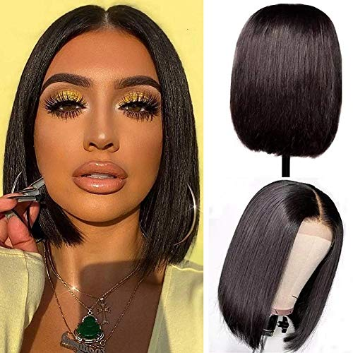 Blomas Human Hair Bob Wigs 4x4 Lace Front Wigs Human Hair Lace Closure Remy Hair Wigs Pre Plucked Natural Color Straight Lace Front Bob Wigs Middle Part Short Bob Wigs 10 Inch
