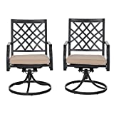 PHI VILLA Outdoor Patio Swivel Dining Chairs Set of 2 for Garden Backyard Furniture 2 Pcs Sets with Cushion - Black