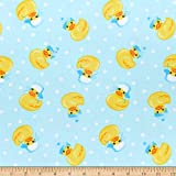 Comfy Flannel Print Rubber Ducks With Hats Blue Fabric by the Yard