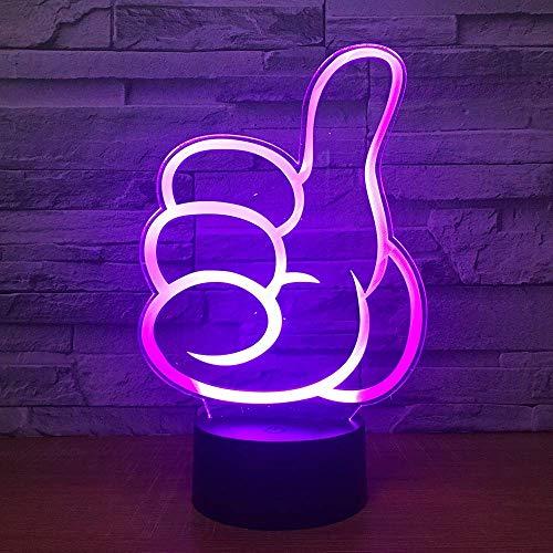 Duimen hoog 3D-illusie lamp drie patronen en 7 decoratieve lampjes die van kleur wisselen, perfect cadeau voor kinderen