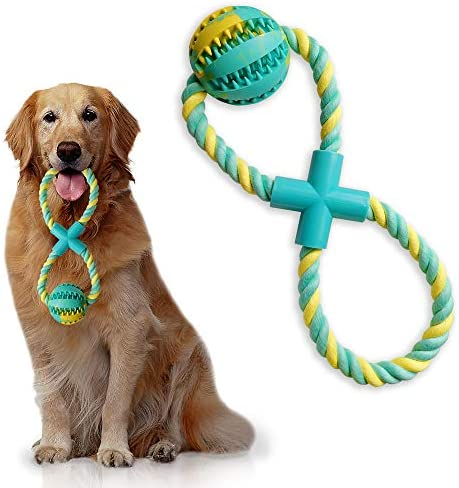 Upgrade 8 Shaped Dog Rope Chew Toys Tug of War Combine IQ Treat Ball Interactive Food Dispenser product image