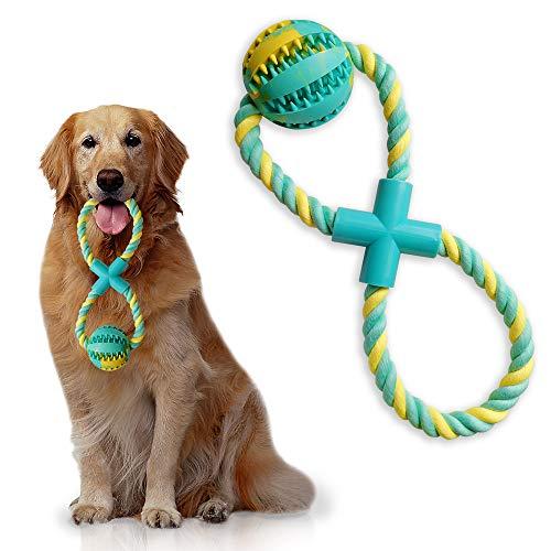 insoftb Kauspielzeug für Hunde, 8-förmig, zum Tauziehen, mit IQ-Leckerli-Ball, interaktiver Futterspender, Training, Spielen, Zahnreinigung