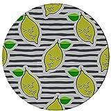 Tappeti per bambini Strip Lemon Yellow Fruit Area Tappeti per cucina 2 piedi rotondi in microfibra antiscivolo Tappeti per interni lavabili in lavatrice Camera da letto per cucina Sala da pranzo Sogg