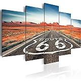 murando - Cuadro en Lienzo 100x50 cm Paisaje Impresión de 5 Piezas Material Tejido no Tejido Impresión Artística Imagen Gráfica Decoracion de Pared Route 66 Negro Blanco c-B-0020-b-n