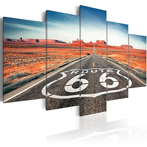 murando - Cuadro en Lienzo 200x100 cm Paisaje Impresión de 5 Piezas Material Tejido no Tejido Impresión Artística Imagen Gráfica Decoracion de Pared Route 66 Negro Blanco c-B-0020-b-n