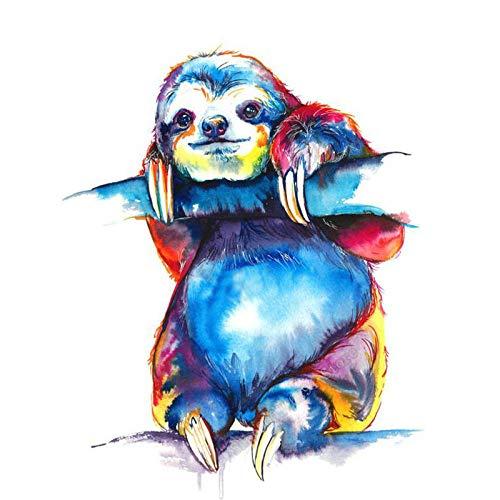 ZFSDD 5D Diamond Painting Mosaic DIY Painted Sloth Animal s Arts Diamond Embroidery Rhinestone Cross Stitch Home Decor Christmas Gift Art Round Drill Frameless 40X50Cm(15.5X19.5Inch)
