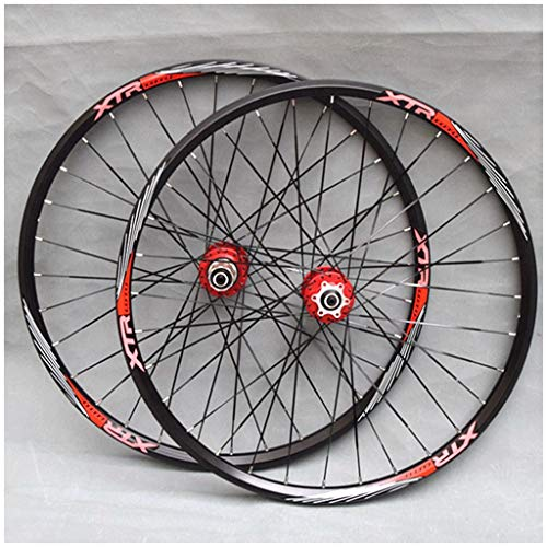 LHHL MTB Bicycle Wheelset 26'/27.5'/29' for Mountain Bike Double Wall Alloy Rim Disc Brake 7-11 Speed Card Hub Sealed Bearing QR 32H (Color : Red, Size : 27.5in)