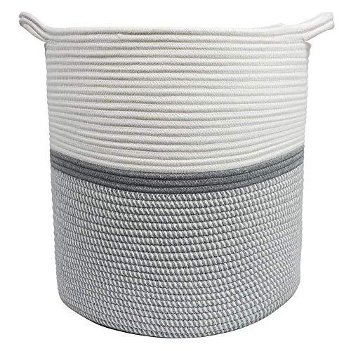 SODIAL Corde de Coton Tissé Panier de Rangement Jouet VêTements Tri Panier de Rangement VêTements Sales Panier Coton Corde Panier