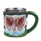 KUKU Tasse à bière d'éléphant de Simulation, Coupe d'eau en Acier Inoxydable, Technologie de gaufrage créative, Tasse en métal, capacité de 20 onces, Cadeau de Vacances