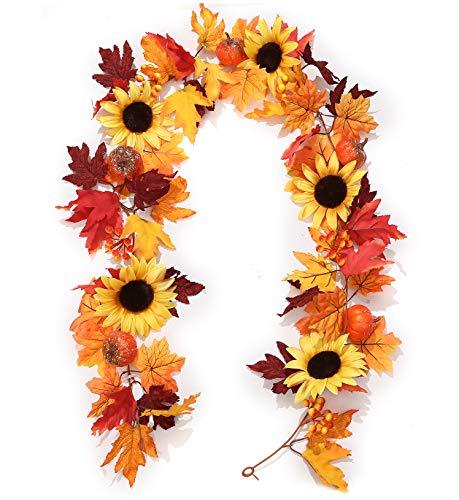 Mazheny - Ghirlanda di foglie di acero false, 1,5 m, con foglie di acero e girasole, zucca, decorazione autunnale artificiale, per feste di nozze, cene, porta cornice decorativa