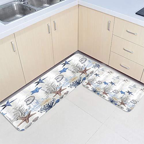 Savannan 2 Piece Anti Fatigue Kitchen Floor Mat Comfort Bath Mat Waterproof Non Slip Kitchen Rugs Indoor - Starfish Seashell Anchor Marine Elements 19.7x31.5in+19.7x47.2in