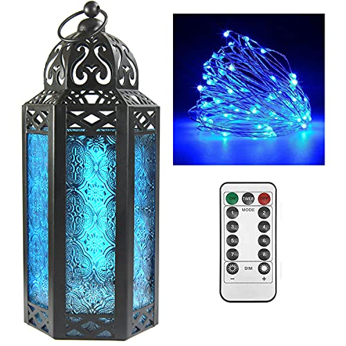 Decorative Candle Lantern Holder with LED Fairy Lights for Room and Home Decor, Medium, Blue