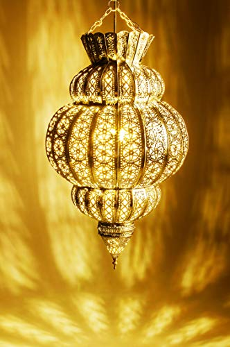 Orientalische Lampe Pendelleuchte Gold Harem 45cm E27 Lampenfassung | Marokkanische Design Hängeleuchte Leuchte aus Marokko | Orient Lampen für Wohnzimmer, Küche oder Hängend über den Esstisch