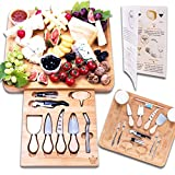 Luxury Dining 16-piece Charcuterie Cheese Board and Knife Set - Organic Bamboo Wood Cutting and...