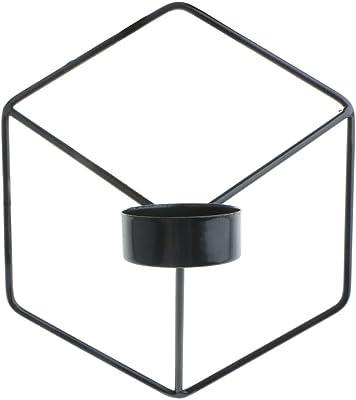 多色選べる 3D 幾何学 キャンドルホルダー 燭台 - ブラック