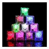 12Pcs Bar Decoration Ice Cube Light,Lumumi DIY Luminous LED Ice Cube Water Submersible Light Up LED Ice Color Changing Party
