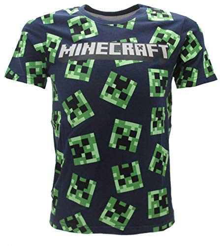 Minecraft Global Brands Group T-Shirt Marineblau Blu Navy 100 Gesichter of The Creeper Kaktus OFFIZIELLES Original-Videospiel (14 Jahre)