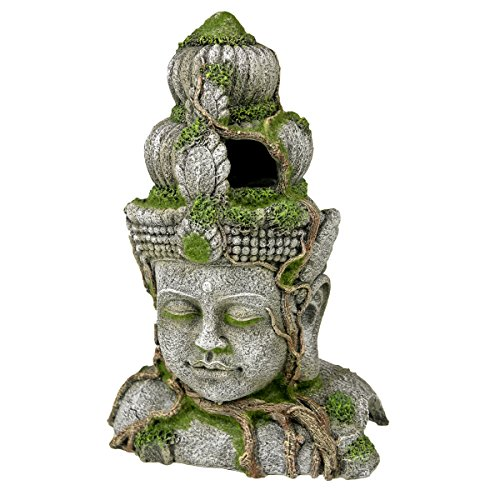 Rosewood Polyresin Moss Covered Stone Head Aquarium Ornament, Large