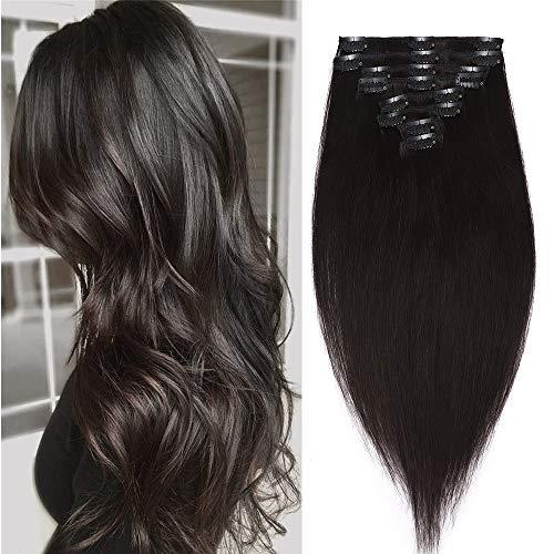 Extension a Clip Cheveux Naturel 8 Pcs - Epaisseur Moyenne - Rajout Vrai Cheveux Humain (#1B Noir naturel, 55 cm (110 g))