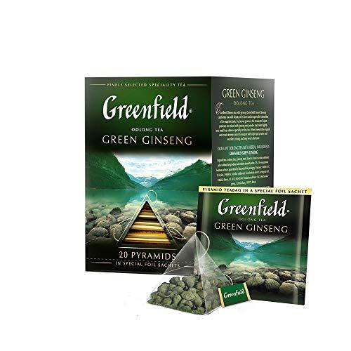 GREENFIELD GREEN GINSENG | Grüner Tee | 20 BEUTEL | Oolong-Tee, Ginsengwurzel, Süßholz, Lakritz | Geschenk | 20 Pyramiden für Blatttee |