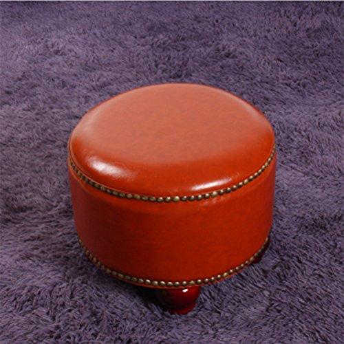 Bruin Rood Footstool Ronde Planken voetenbankje Seat Duurzaam PU Leren Schoen Bench For Children, 34cm x 34cm x 30 cm 408 (Color : Brown red)
