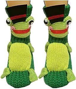 PreSox antideslizante suéter de punto calientes calcetines de piso de casa para las mujeres (green frog)