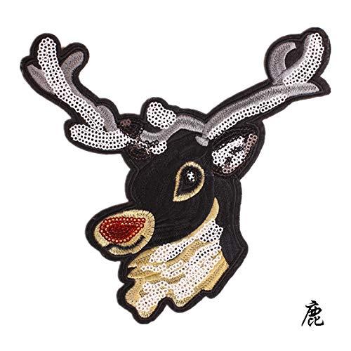 iron on patch,parches para ropa,Aplique de bordado, utilizado para decorar ropa para reparar agujeros en la ropa, gran ciervo brillante 1 pieza
