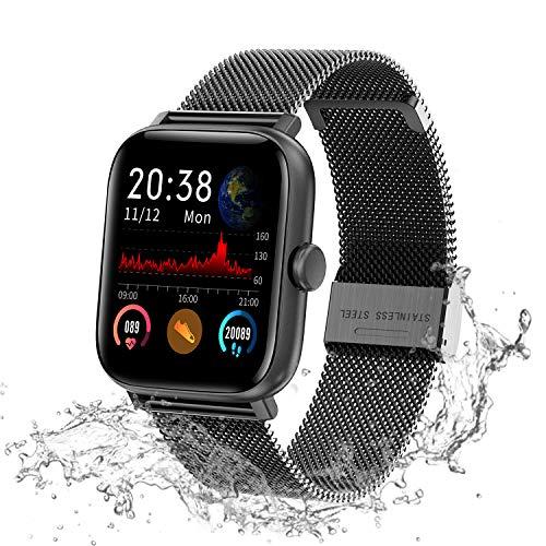 Lucky-M Smartwatch, 3,9 cm Touchscreen, Smartwatch für iOS Android, Fitness-Tracker, wasserdicht, IP68, für Männer und Frauen, Bluetooth-Aktivitätstracker, Schwarzer Stahl