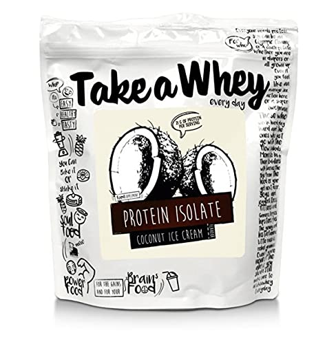 TAKE-A-WHEY Integratore Alimentare per Bodybuilding Proteine Isolate, Cocco Ghiaccio - 900 g