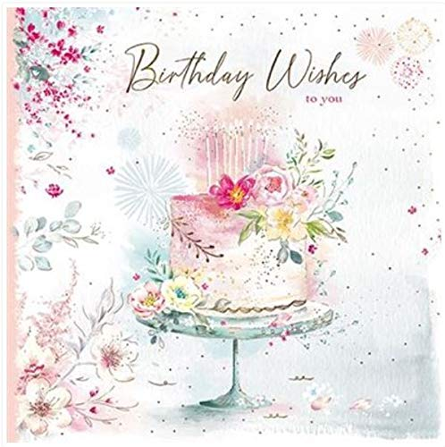 GBCC Paper House Female Open Birthday Card - Birthday Wishes To You - Birthday Cake and Candles with Floral Decoration - Embossed Gold Foil Finish - For Her