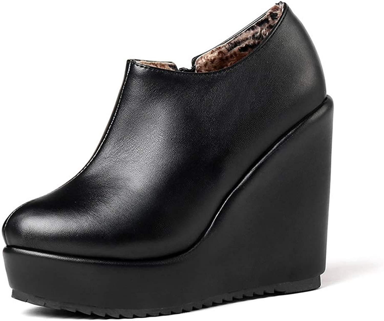 GIY Women's Round Toe High Heels Ankle Boots Footwear Pu Leahter Wedges Platform Boot Zip Winter Causal Dress Short Boots
