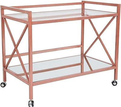 Flash Furniture NAN-JH-17110-GG Glenwood Park Glass Kitchen Serving and Bar Cart with Rose Gold Frame