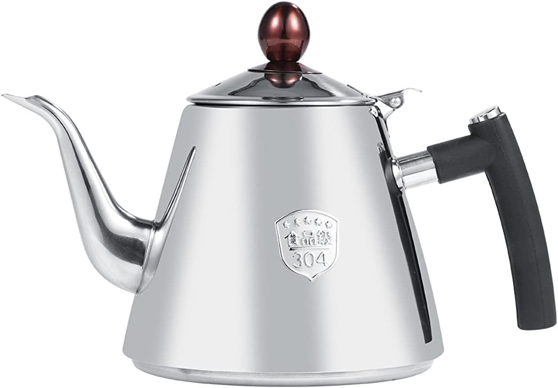 1 2L Stainless Steel Teapot Tea Coffee Pot Tea Kettle With Heat Resistant Silicone Handle For Stovetop Induction Cooker Polished
