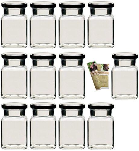 gouveo 15er Set Leere eckige Einmachgläser Quadrat 150 ml incl. Drehverschluss Silber, Vorratsgläser, Marmeladengläser, Einkochgläser, Gewürzgläser, Einweckgläser von Flaschendiscount