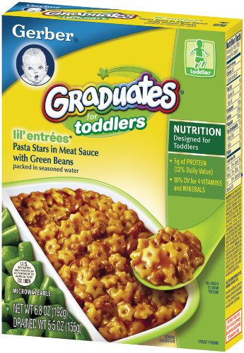 Gerber Graduates Lil' Entrees, Pasta Stars in Meat Sauce, 5.5-Ounce Boxes (Pack of 12)
