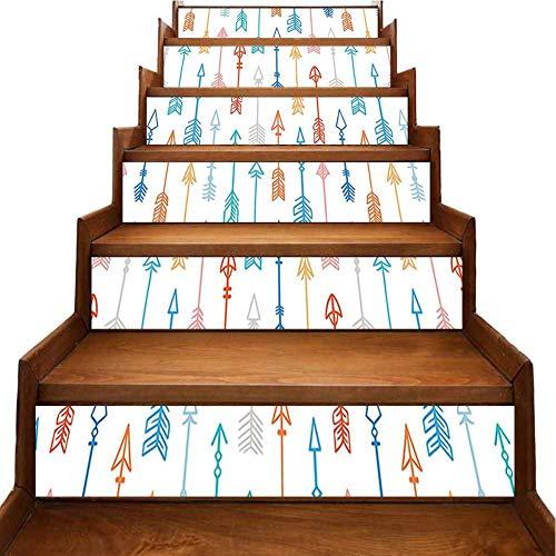 Adhesivos decorativos para piso, escaleras, diseño retro, flecha, triángulo y diseño geométrico simple, para decorar la sala de estar, el pasillo, la habitación de los niños, Azul-09, 7'x39.3'x6pcs