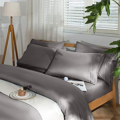 """SAKIAO -6PC Queen Size Bed Sheets Set - Brushed Microfiber 1800 Thread Count Percale - 16"""" Deep Pocket(Queen, Grey)"""