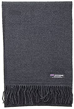 2 PLY 100% Cashmere Scarf Elegant Collection Made in Scotland Wool Solid Plaid  Solid Charcoal