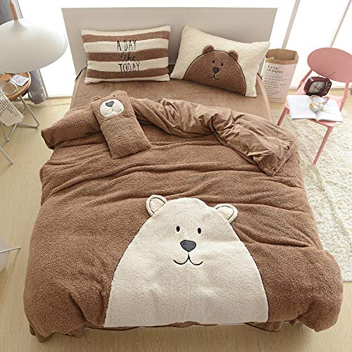 geek cook Duvet Cover Set king Size,Four-piece flannel set for autumn and winter warmth, 4 pieces of cartoon embroidery flannel bedding-Coffee 1_1.5m bed