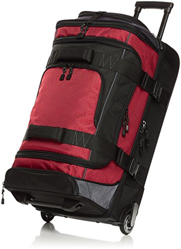 Amazon Basics Ripstop Rolling Travel Luggage Duffle Bag With Wheels - 28 Inch, Red