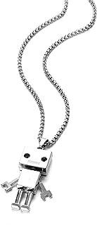 Robot Pendant Necklace for Men Boys, Vintage Pendant Chain Necklaces Set, Stainless Steel Necklace Best Annual Family Frie...