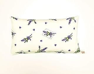 Cojín de lavanda para dormir – Cojín Maxima relleno de espelta orgánica y flores de lavanda de Francia, tamaño 41 x 23 cm, diseño de lavanda con corazones sobre blanco