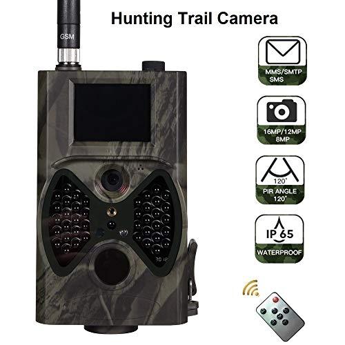 WANGMEILING Jagdkamera wildkamera Jagd-Hinterkamera 2G Celluar 16MP MMS SMTP SMS Email 1080P Wildkameras IR-Nachtsicht HC300M Wireless Überwachungs (Color : Camouflage)