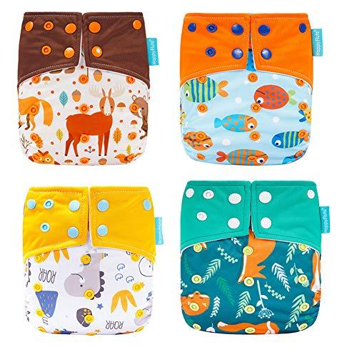 HahaGo Pañal de tela para bebé Pañales reutilizables lavables Inserte el de bolsillo todo en uno para la mayoría de los bebés y niños pequeños (Anti fuga lateral)