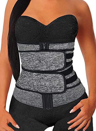 Acelitt Women Ladies Plus Size Waist Trainer Everyday Wear Corset Trimmer Belt Waist Cincher Body Shaper Slimming Sports Girdle Gray XXL