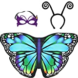Kids Butterfly Wings Costume for Girls Fairy Halloween Dress Up Cape with Mask Headband Party Favors (Rainbow)
