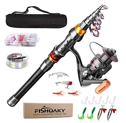 FISHOAKY Telescopic Fishing Rod Set, Spinning Fishing Pole...