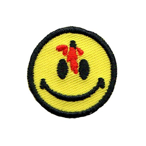 Small Bloody Bullet Smiley Face Patch Happy Smile Embroidered Iron On Applique